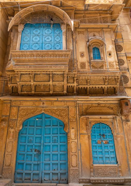 Blue door of an old haveli, Rajasthan, Jaisalmer, India