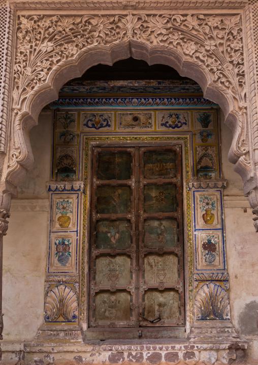 Decorated carved window in Mehrangarh fort, Rajasthan, Jodhpur, India