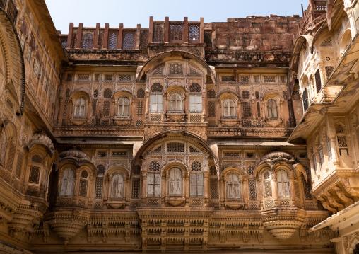 Decorated carved windows in Mehrangarh fort, Rajasthan, Jodhpur, India