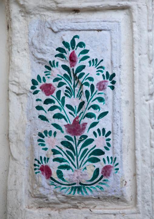 Murals depicting flowers, Rajasthan, Jodhpur, India