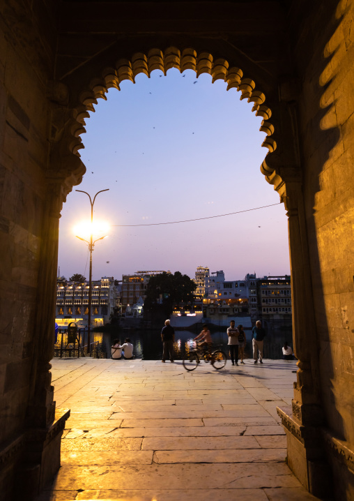 Indian archway on Gangaur ghat, Rajasthan, Udaipur, India