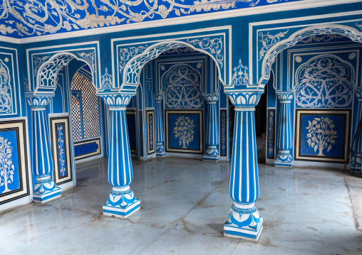 Sukh Niwas blue room in the city palace, Rajasthan, Jaipur, India