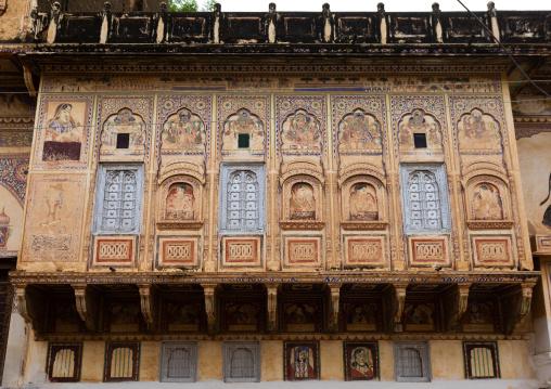 Old historic balcony of a haveli, Rajasthan, Nawalgarh, India