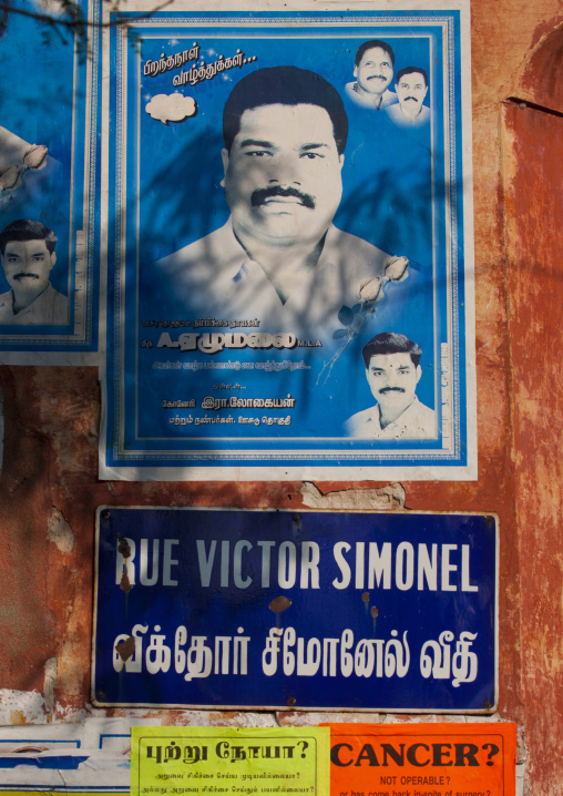 Posters On A Wall In Victor Simonel Street In The French Quarter, Pondicherry, India
