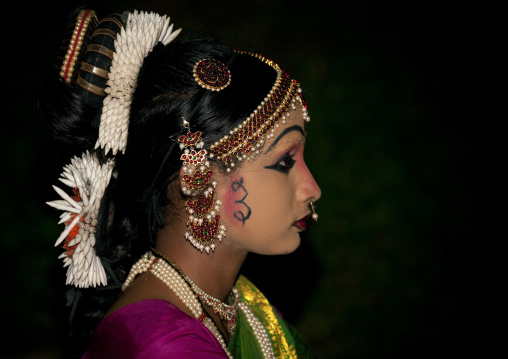 Young Girl With Traditionnal Painting And Costum During A Ceremony, Periyar, India