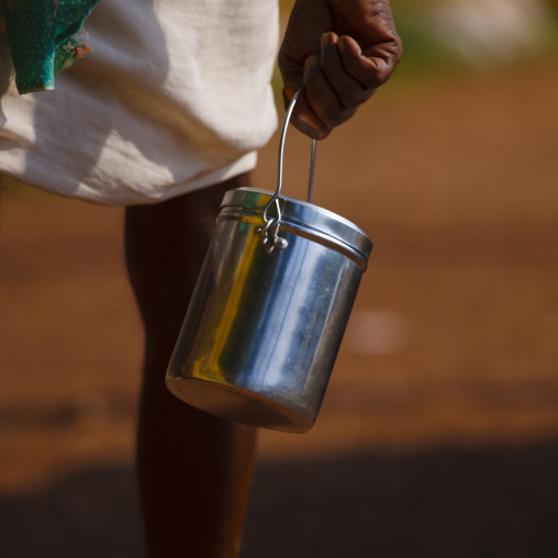 Man Carrying His Bucket Of Milk, Alleppey, India