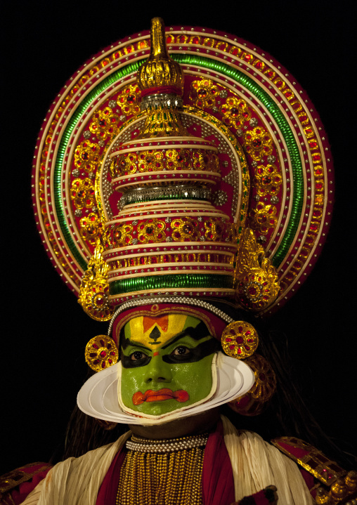 Mysterious Kathakali Dancer With Traditional Face Make Up, Kochi, India