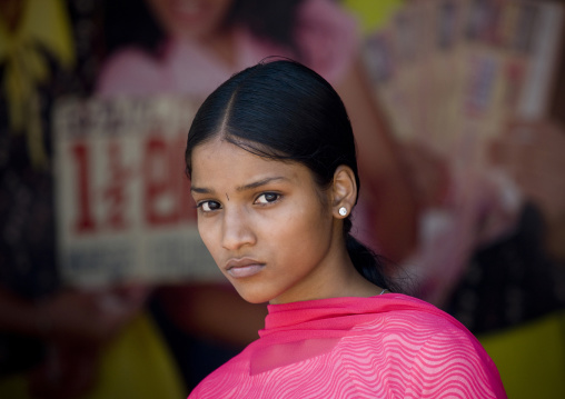 Indian Beauty With Inscrutable Face In The Street Of Thalassery, India