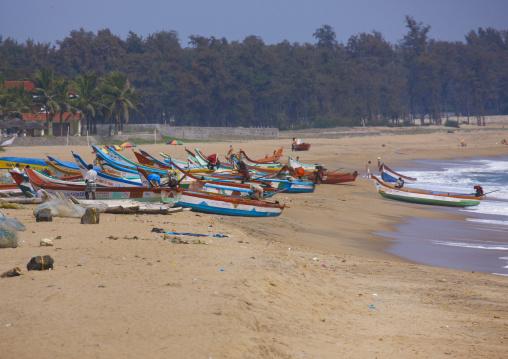 Row Of Colorful Small Fishing Boat On Mahabalipuram Beach, India
