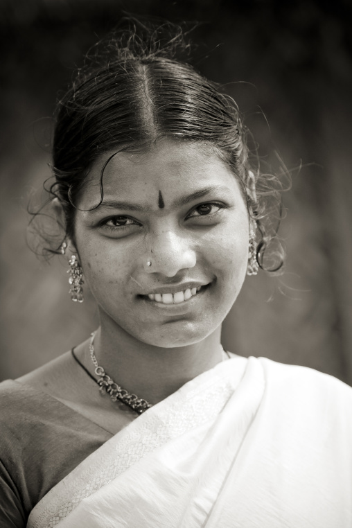 Portrait Of A Smiling Young Woman With Typical Clothing And Jewellery, Pondicherry, India