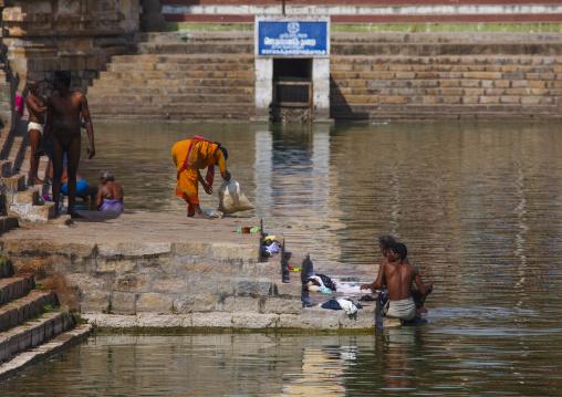 People Doing Their Laundry On The Stairs Around The Mahamaham Tank, Kumbakonam, India