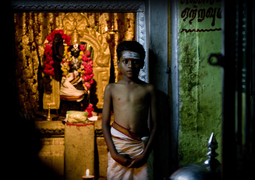 Young Boy With Painted Forehead Posing In Sri Ranganathaswamy Temple Trichy, India