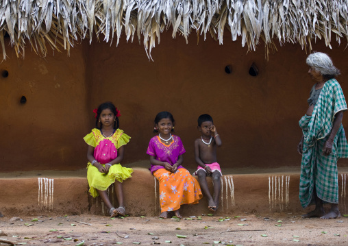 South Indian Kids In Front Of Their Adobe House, Madurai, India