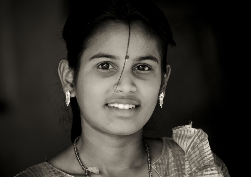 Portrait Of A Cute Teenage Girl With Up Eyes And Earrings, Madurai, India