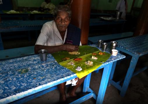 Old Seated Man During Lunchtime At A Wedding, Kumbakonam, India