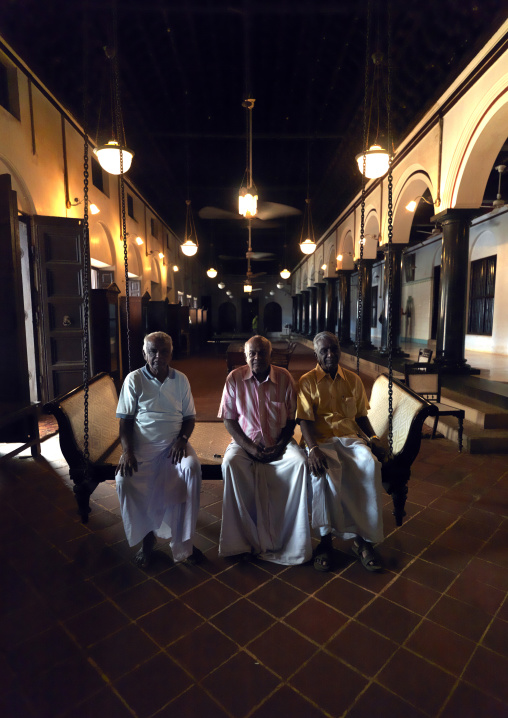 Men Sitting On A Luxurious Bench In A High-standing Hall, Kanadukathan Chettinad, India