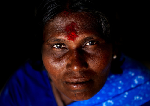 Mature Indian Woman With Red Spot On Her Forehead, Madurai, India