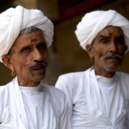 Indian Old Twins With White Clothes And Turban, Madurai, India