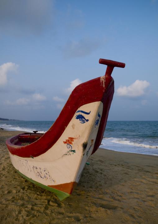 Decorated Boat On Mahabalipuram Beach, India