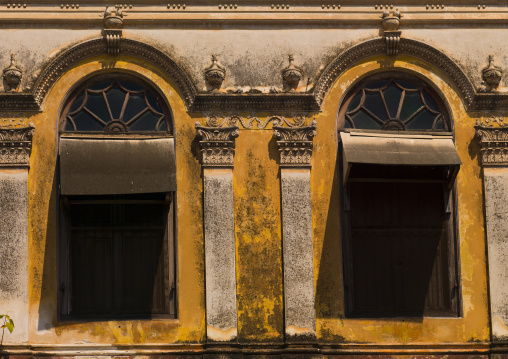 Two Windows Of An Old House With Decrepit Wall, Pondicherry, India