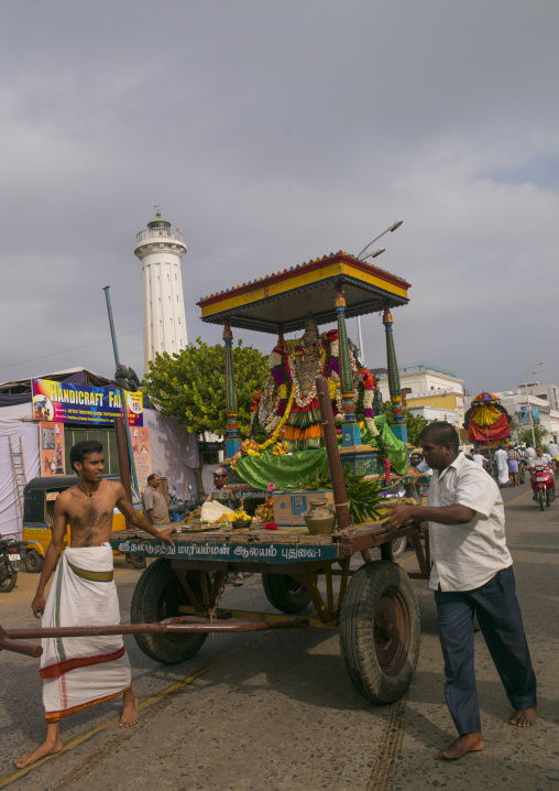 Men Pulling A Float Carrying The Statue Of A Hindu Deity During Masi Magam Festival, Pondicherry, India