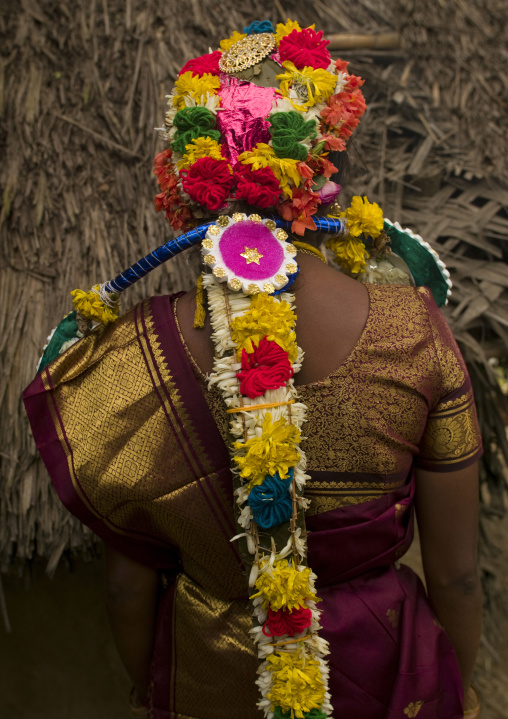 Bride In Sari Wearing A Colorful Flower Garland On Her Head For Her Wedding, Pondicherry, India