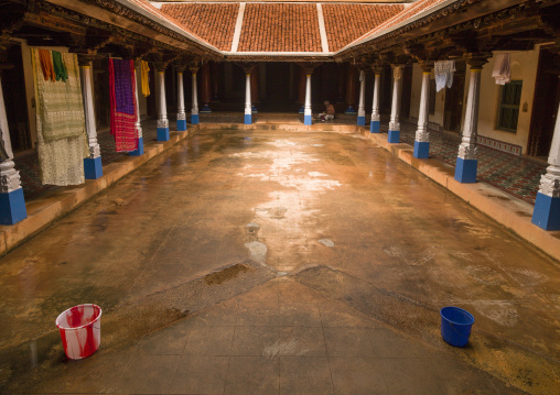 Inner Courtyard With Drying Clothes In A Chettiar Mansion, Kanadukathan Chettinad, India