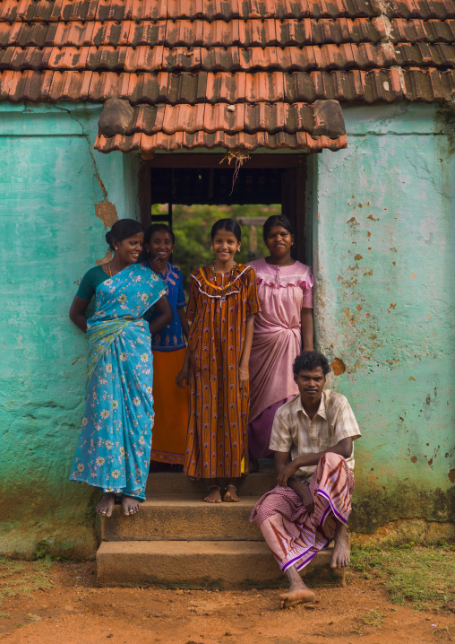Group Of Smiling Indian Posing In Front Of Their House On The Doorstep, Kanadukathan Chettinad, India