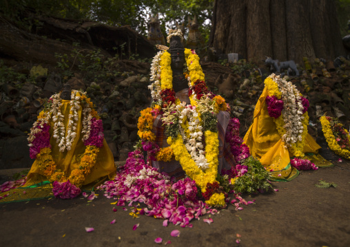 Altar With Statues Of Deities Adorned With Flowers And Offerings At The Ayyanar Temple, Pudukkottai, India
