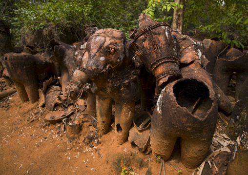 Broken Terracotta Horses Lined Up By The Ayyanar Temple, Pudukkottai, India
