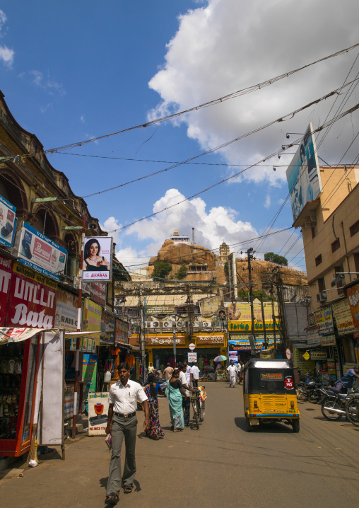Shopping Street With At The Background The Rock Fort Temple Overlooking The City, Trichy, India