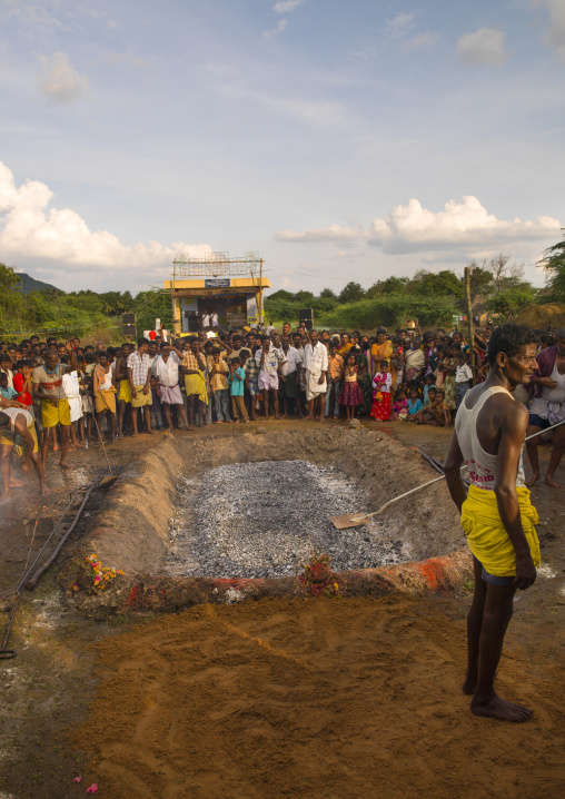 The Crowd Behind A Trench Of Ashes Ready For Fire Walking In Tamil Nadu, Madurai, South India