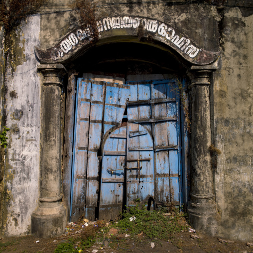Old Blue Wooden Door Near The Shopping Quarter, Kochi, India