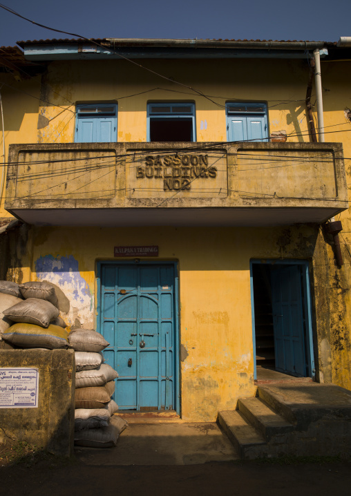 Old And Colorful Sassoon Building In Jew-town, Kochi, India