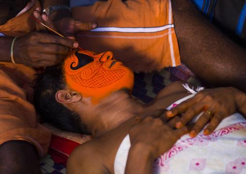 Theyyam Artist Having Make Up Applied, Thalassery, India