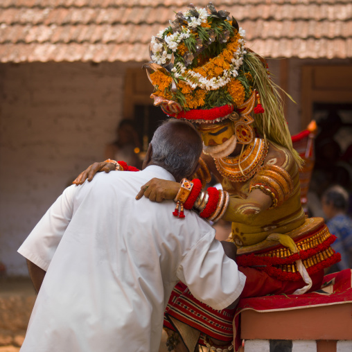People Asking Questions About The Future During Theyyam Ceremony, Thalassery, India
