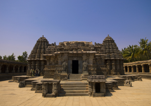 The Main Shrines And Its Intricately Carved Rock At Keshava Temple, Somnathpur, India
