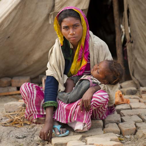 Mother And Baby At Maha Kumbh Mela, Allahabad, India