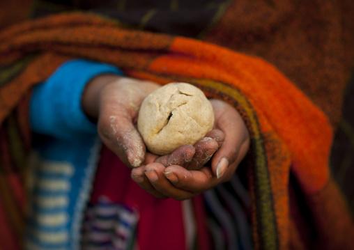 Pilgrim With Her Hair In A Ball At Maha Kumbh Mela, Allahabad, India