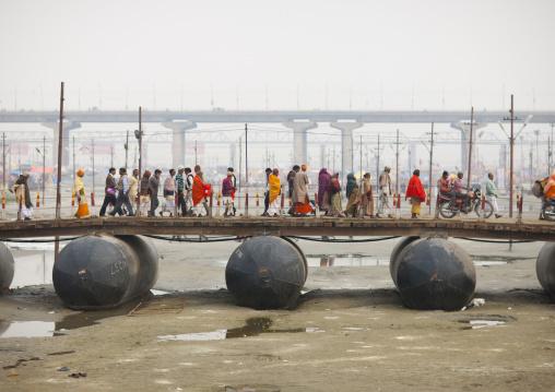 Pilgrims Crossing A Bridge, Maha Kumbh Mela, Allahabad, India
