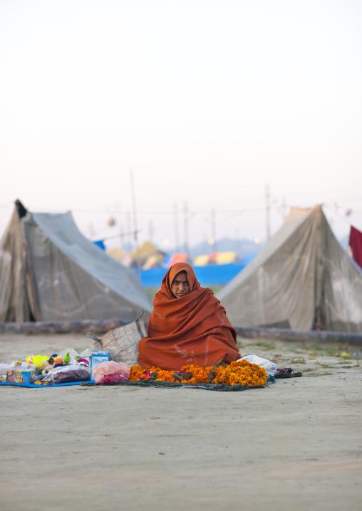 Woman Selling In The Street, Maha Kumbh Mela, Allahabad, India
