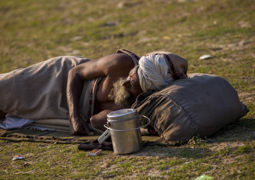 Sadhu Sleeping In A Field, Maha Kumbh Mela, Allahabad, India