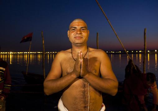 Pilgrim Bathing In Ganges, Maha Kumbh Mela, Allahabad, India