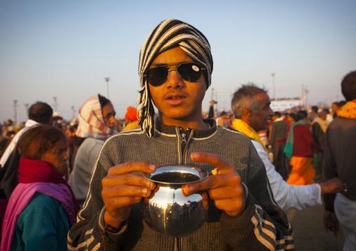 Pilgrim With Ganges Water, Maha Kumbh Mela, Allahabad, India