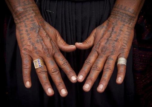 Tattos On The Hands Of A Rabari Woman, Maha Kumbh Mela, Allahabad, India