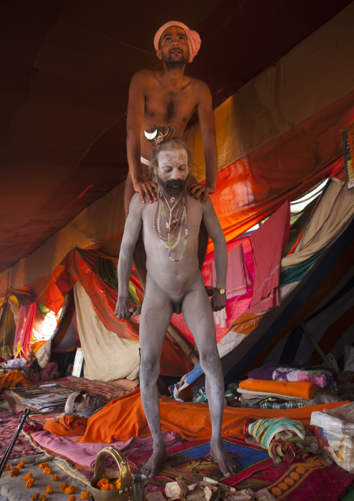 Naga Sadhu Doing Performance With His Penis, Maha Kumbh Mela, Allahabad, India