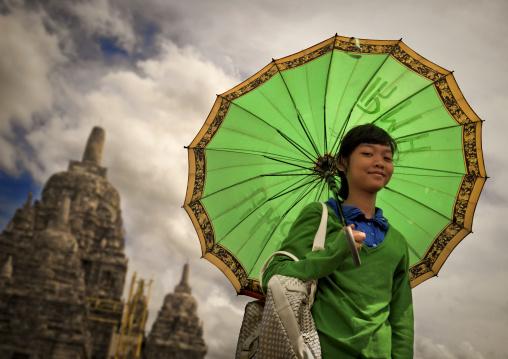 Girl in prambanan java island indonesia
