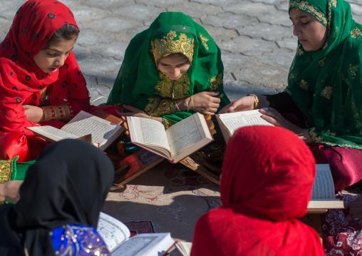 girl madrasa students reading koran, Hormozgan, Bandar-e Kong, Iran