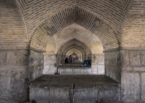 People under khaju bridge pol-e khaju, Isfahan province, Isfahan, Iran
