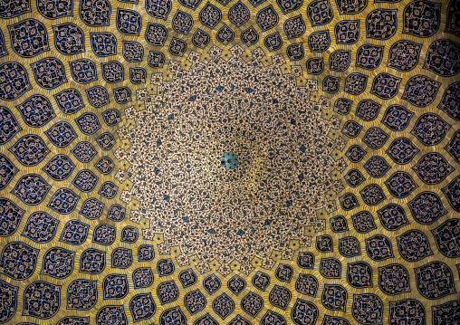 Ceiling with its intricate and elaborate patterns in sheikh lotfollah mosque, Isfahan province, Isfahan, Iran